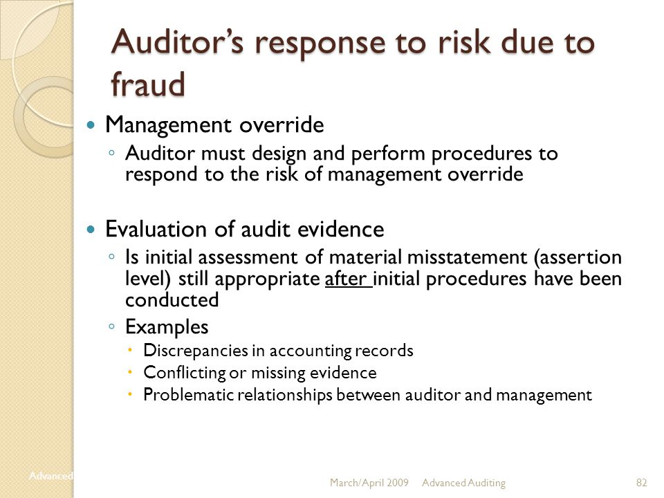 Auditor's response to risk due to fraud