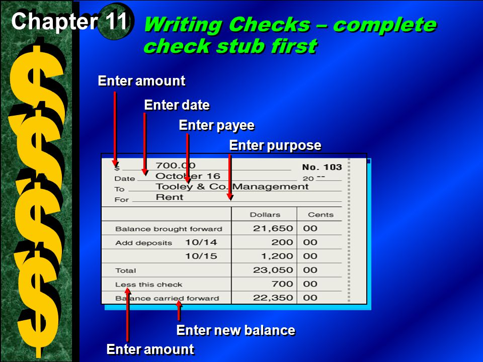 $ $ $ $ Writing Checks – complete check stub first Chapter 11