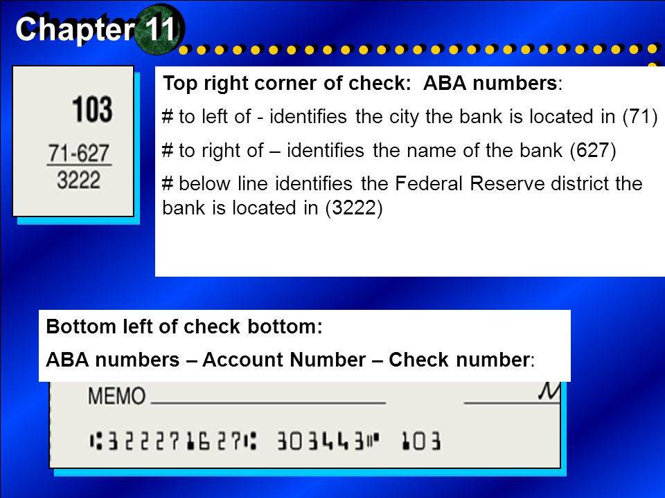 Chapter 11 Top right corner of check: ABA numbers: