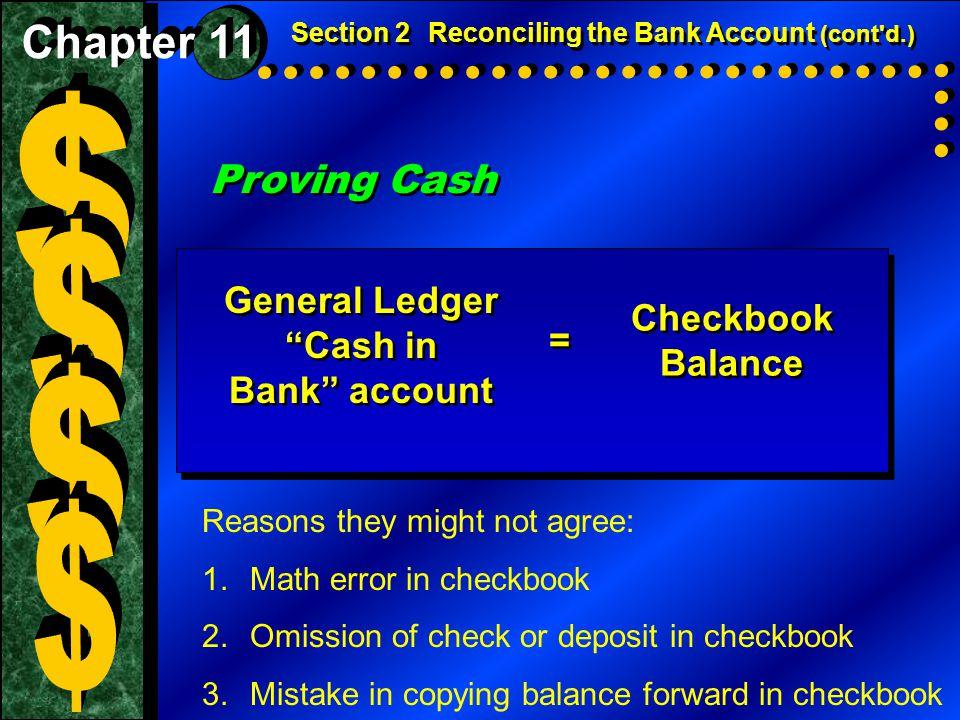$ $ $ $ Proving Cash Chapter 11 General Ledger Cash in Checkbook =