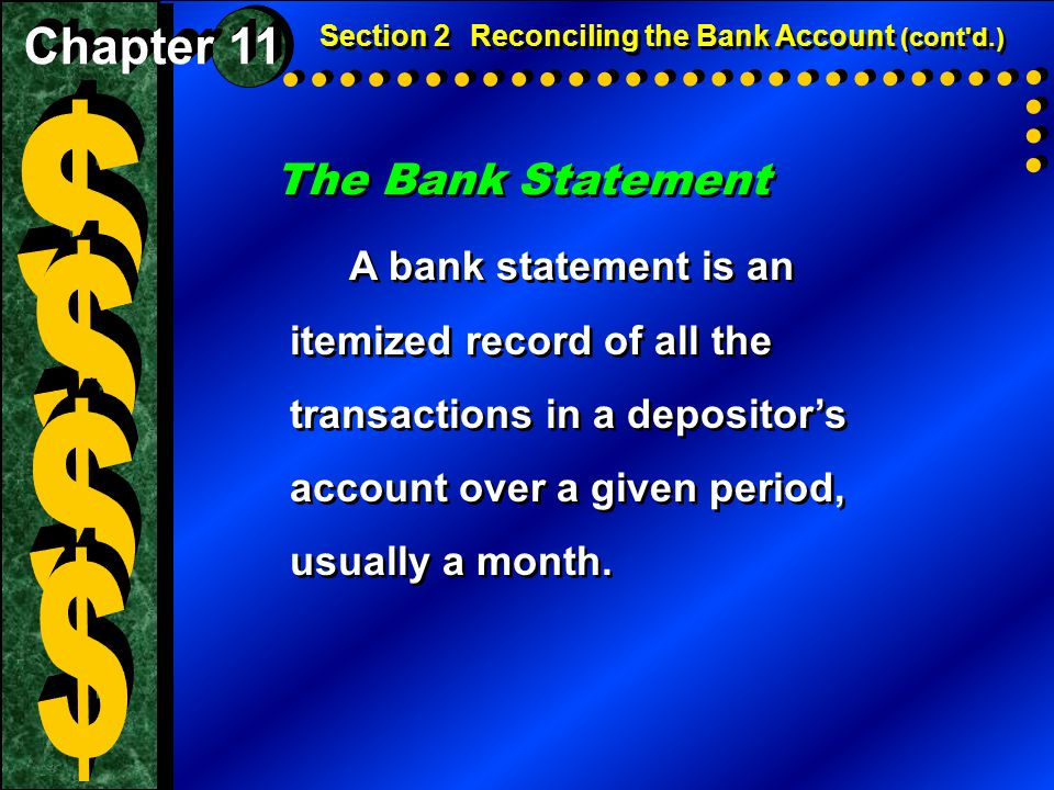 $ $ $ $ The Bank Statement Chapter 11