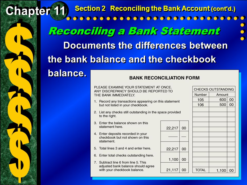 $ $ $ $ Reconciling a Bank Statement Chapter 11