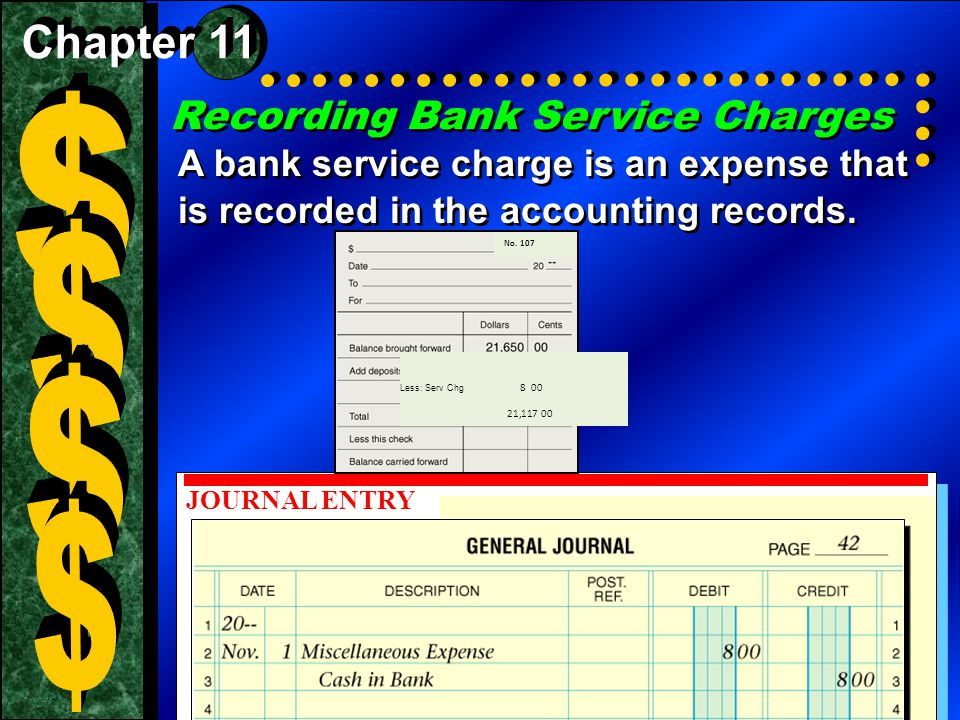 $ $ $ $ Recording Bank Service Charges Chapter 11