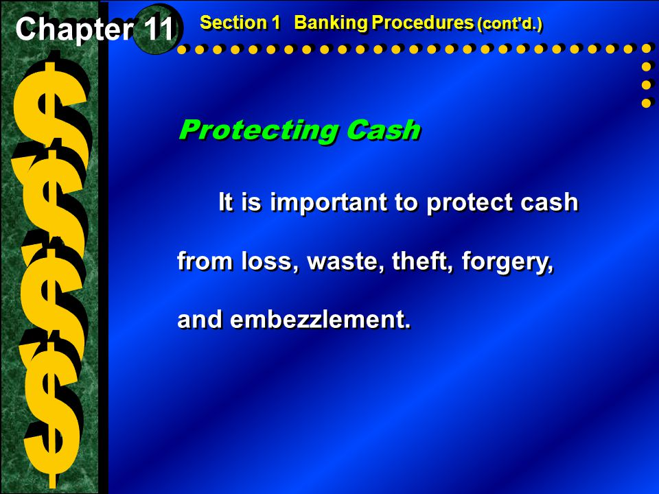 Section 1 Banking Procedures (cont d.)