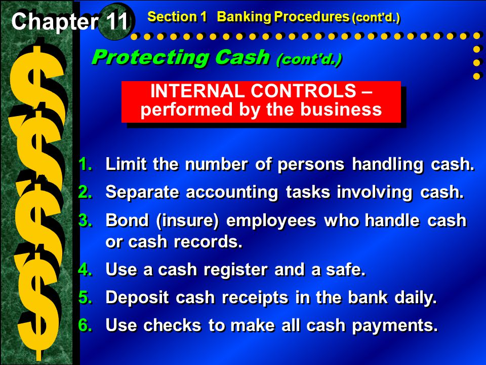 INTERNAL CONTROLS – performed by the business
