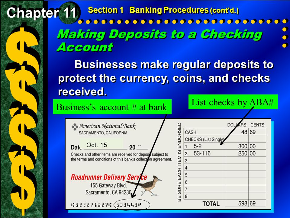 $ $ $ $ Making Deposits to a Checking Account Chapter 11