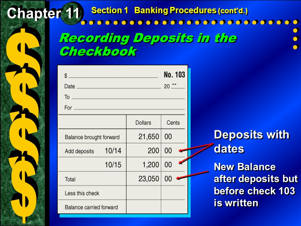 $ $ $ $ Recording Deposits in the Checkbook Chapter 11