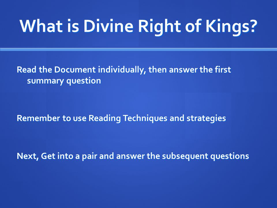 What is Divine Right of Kings