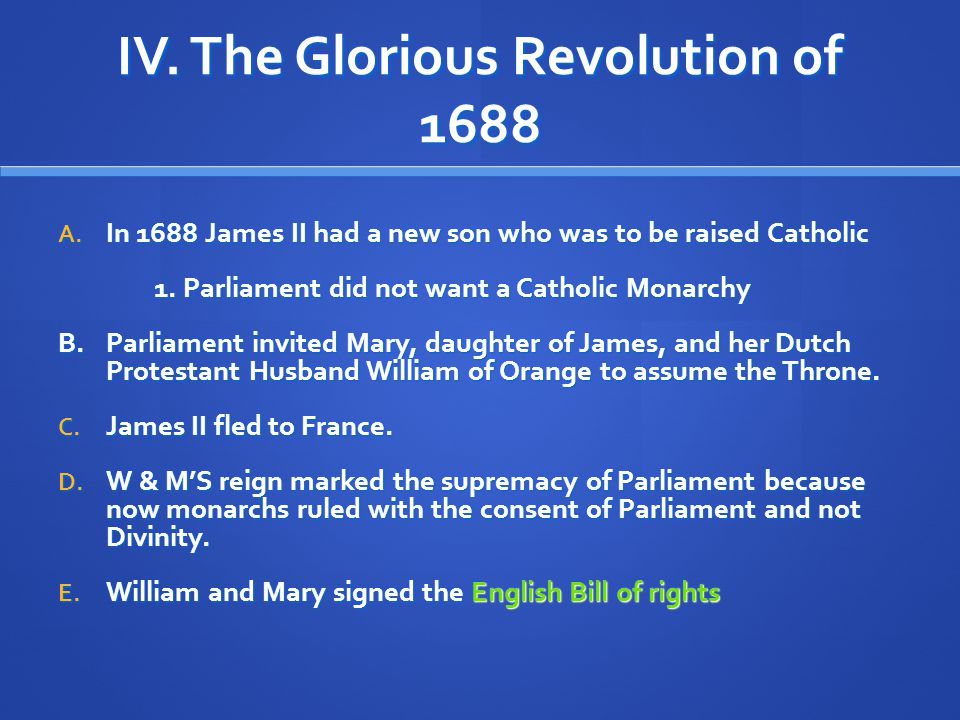 IV. The Glorious Revolution of 1688
