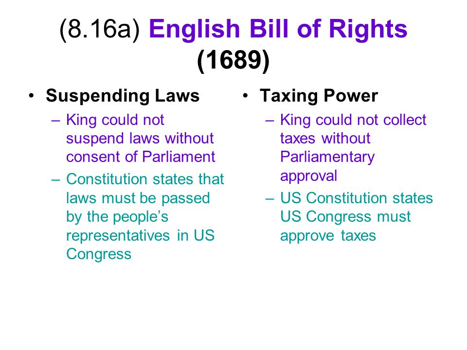 (8.16a) English Bill of Rights (1689)