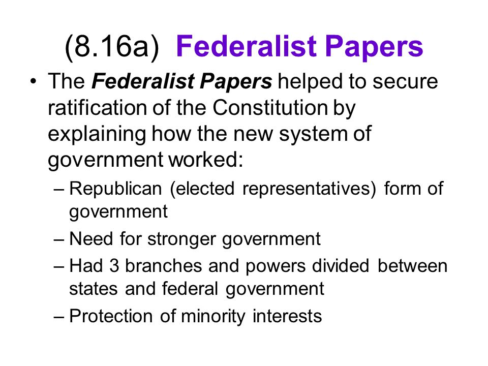 (8.16a) Federalist Papers