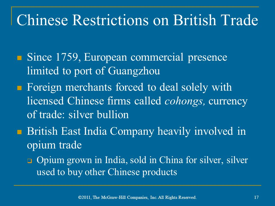Chinese Restrictions on British Trade