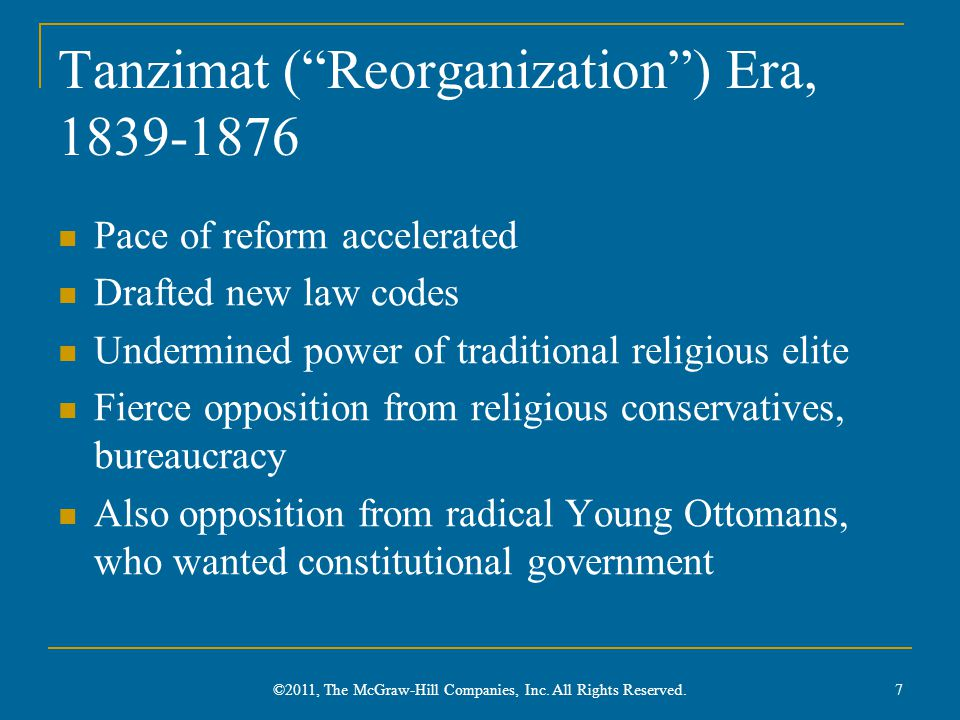 Tanzimat ( Reorganization ) Era, 1839-1876