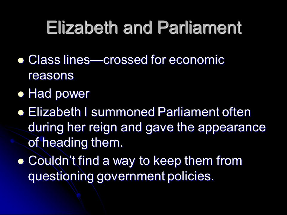 Elizabeth and Parliament