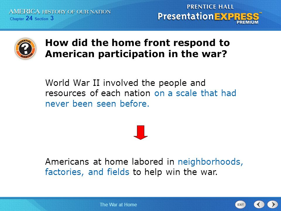 How did the home front respond to American participation in the war