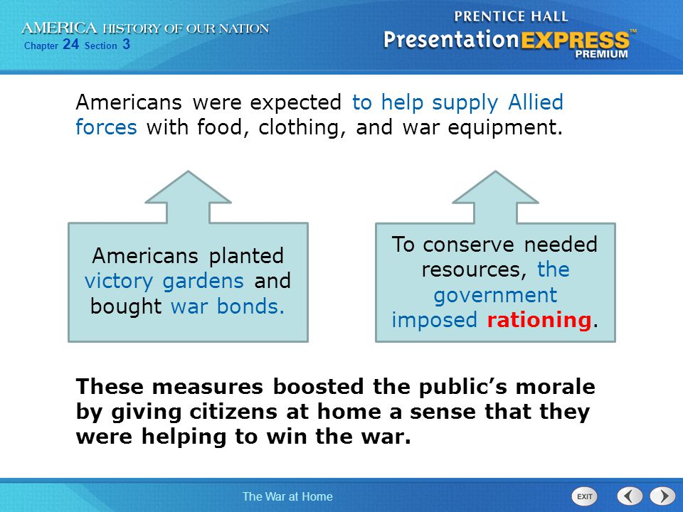 Americans planted victory gardens and bought war bonds.