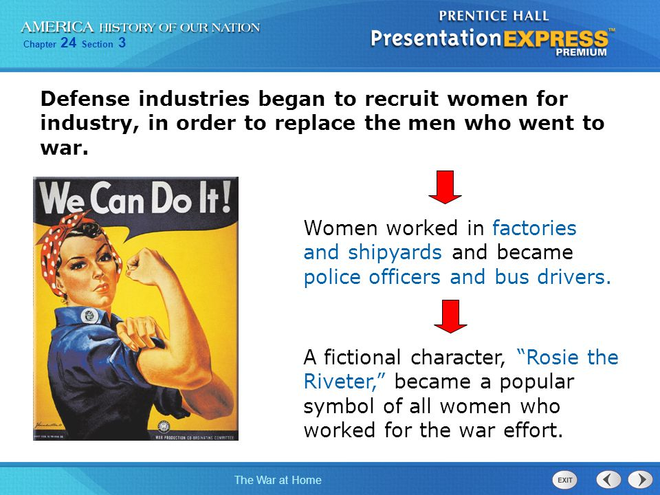 Defense industries began to recruit women for industry, in order to replace the men who went to war.
