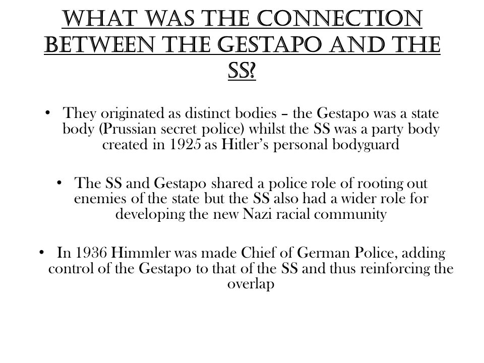 What was the connection between the Gestapo and the SS