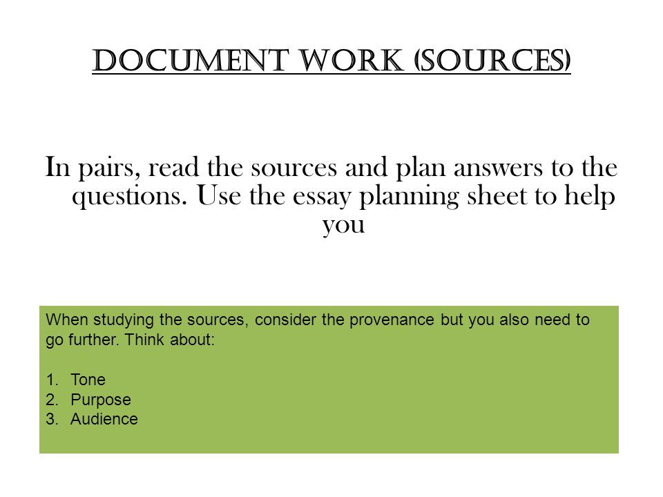 Document work (sources)