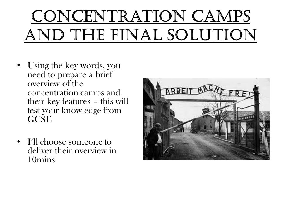 Concentration camps and the final solution
