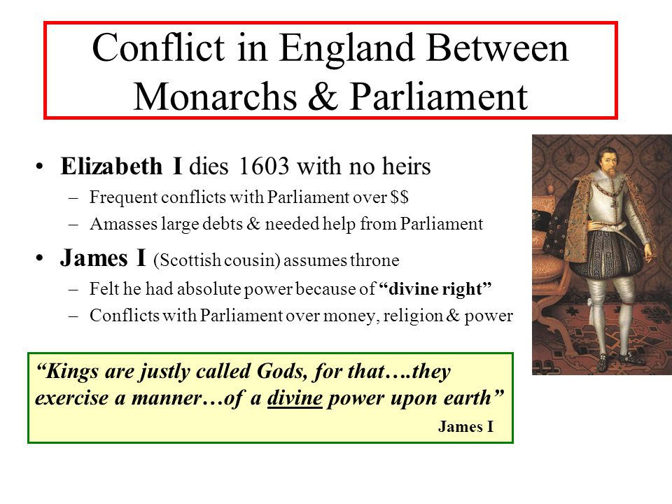 Conflict in England Between Monarchs & Parliament