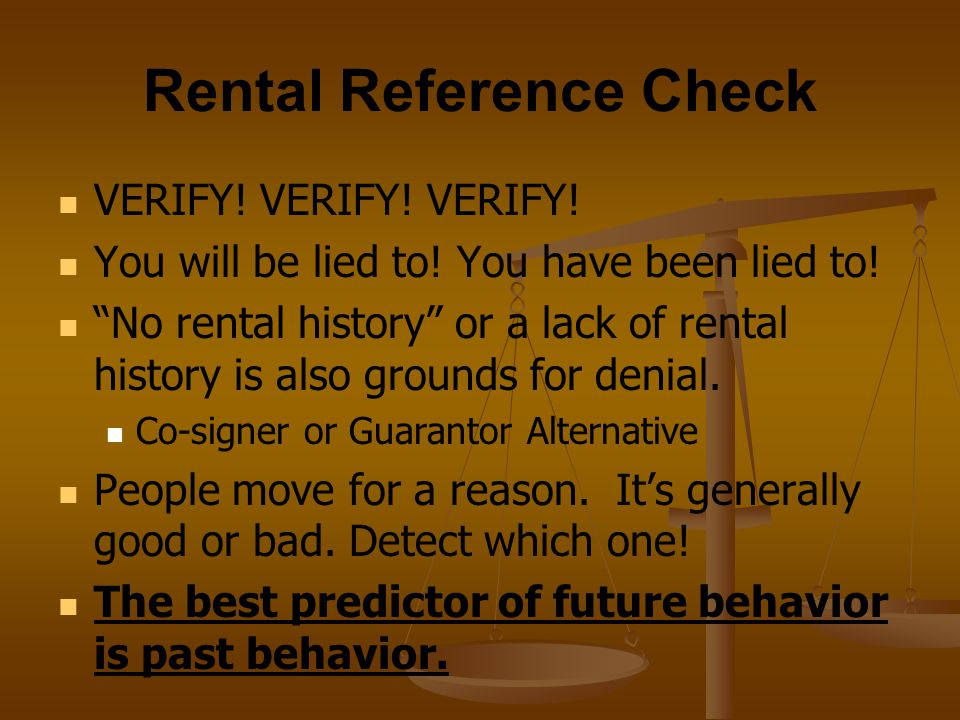 Rental Reference Check