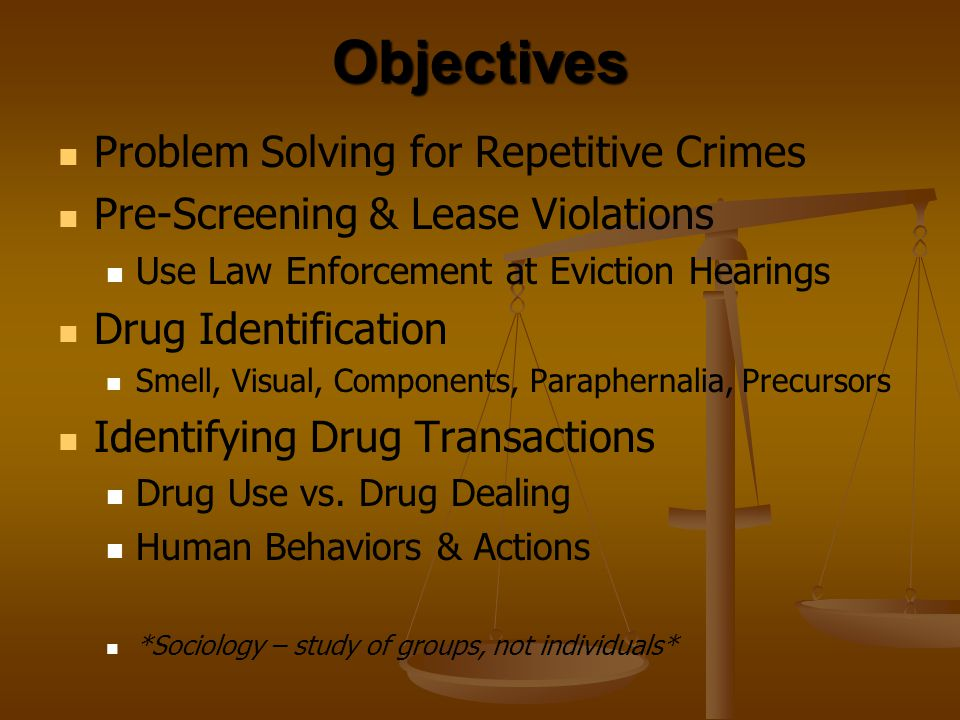 Objectives Problem Solving for Repetitive Crimes
