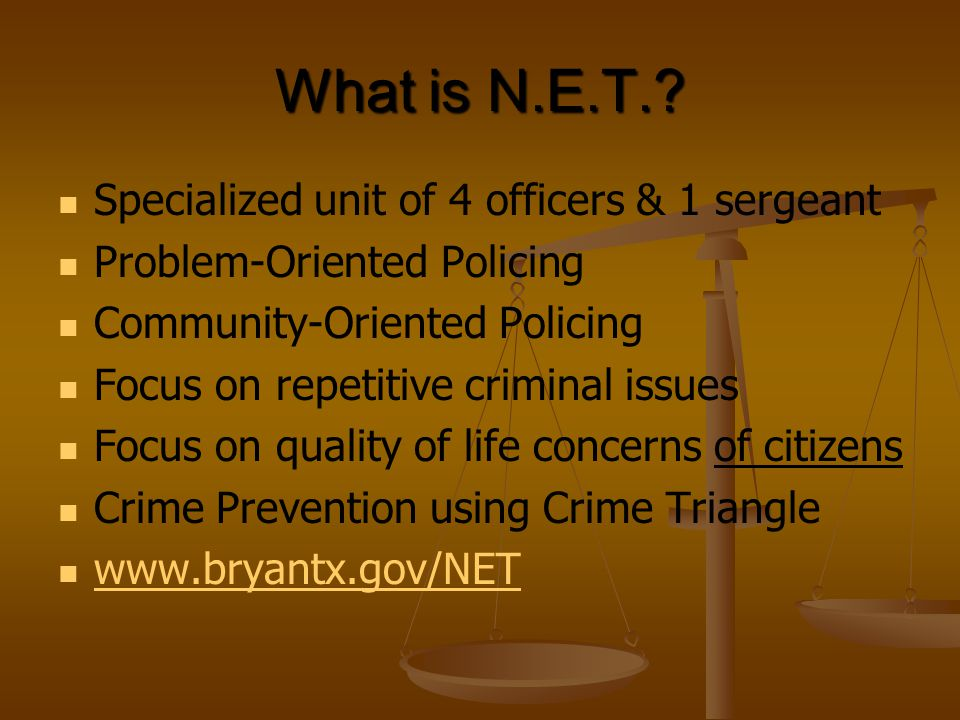 What is N.E.T. Specialized unit of 4 officers & 1 sergeant