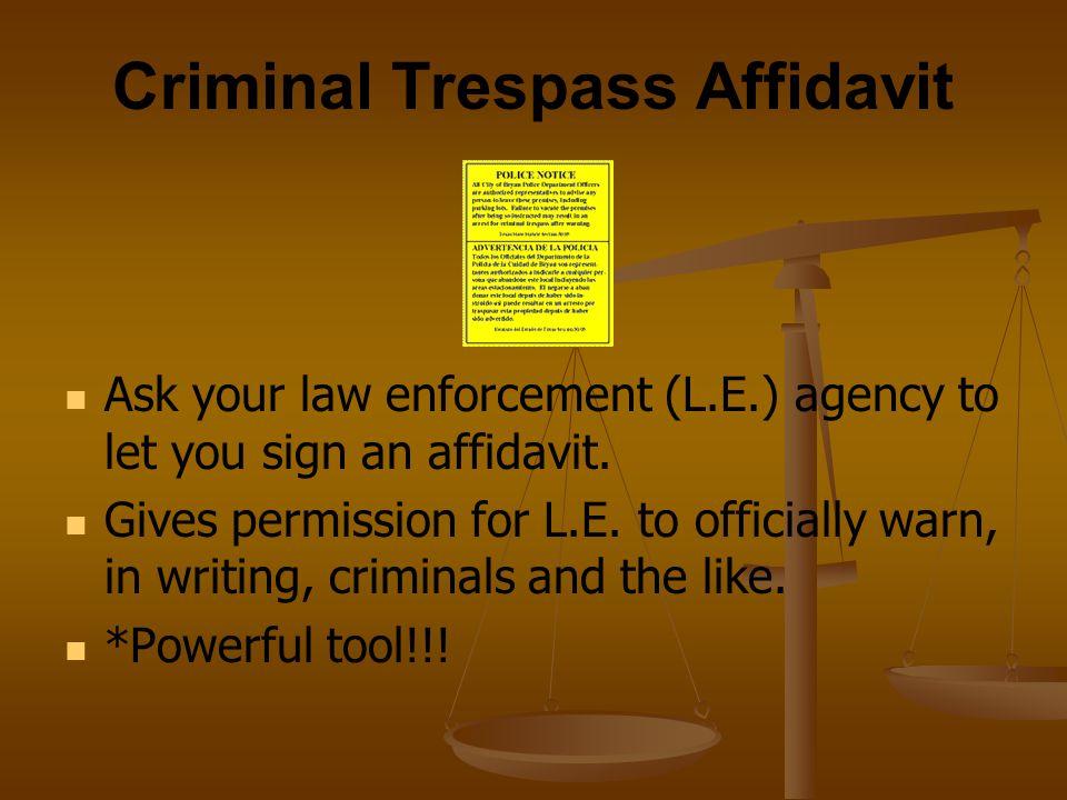 Criminal Trespass Affidavit