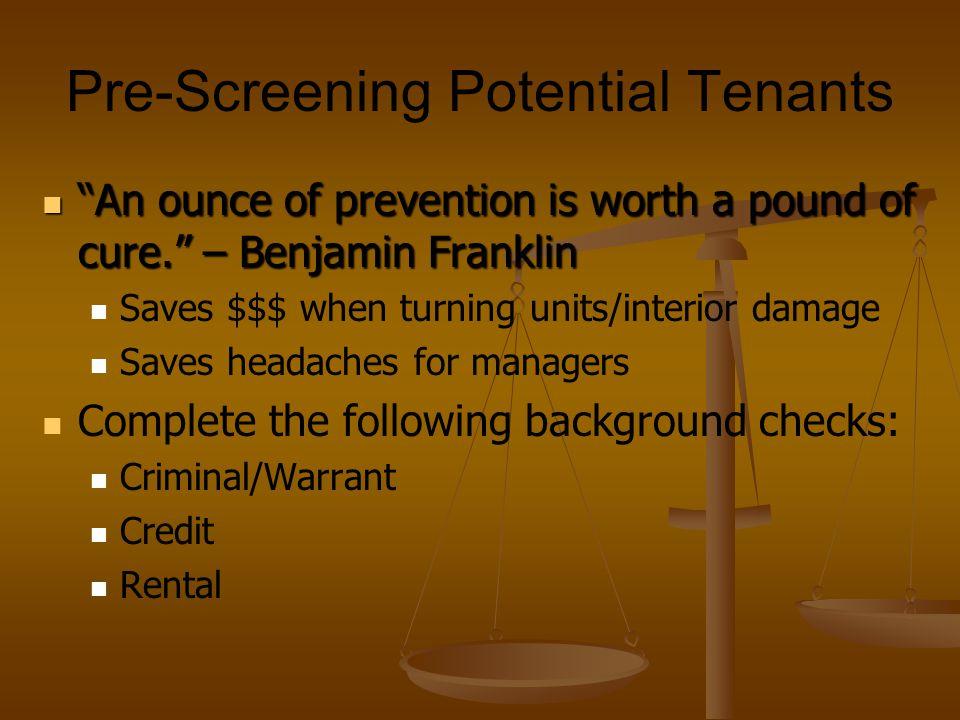 Pre-Screening Potential Tenants