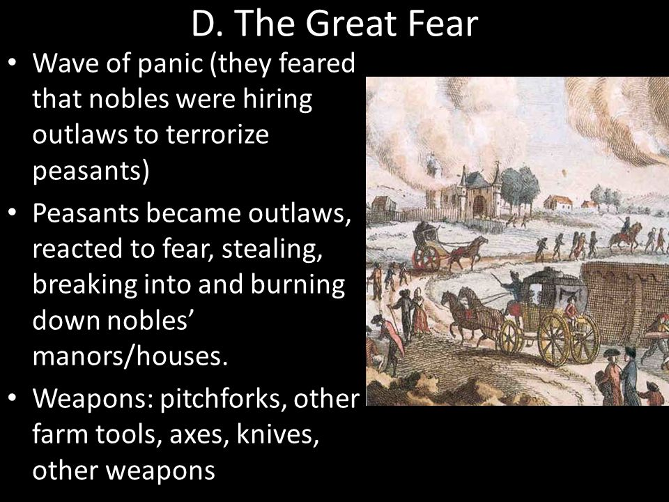 D. The Great Fear Wave of panic (they feared that nobles were hiring outlaws to terrorize peasants)