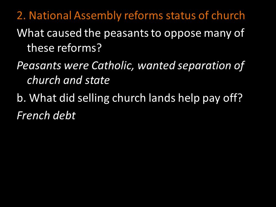 2. National Assembly reforms status of church