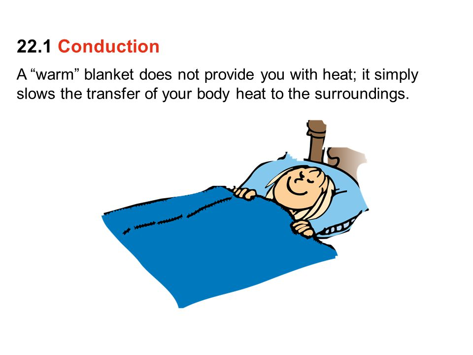 22.1 Conduction A warm blanket does not provide you with heat; it simply slows the transfer of your body heat to the surroundings.
