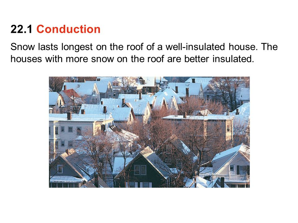 22.1 Conduction Snow lasts longest on the roof of a well-insulated house.