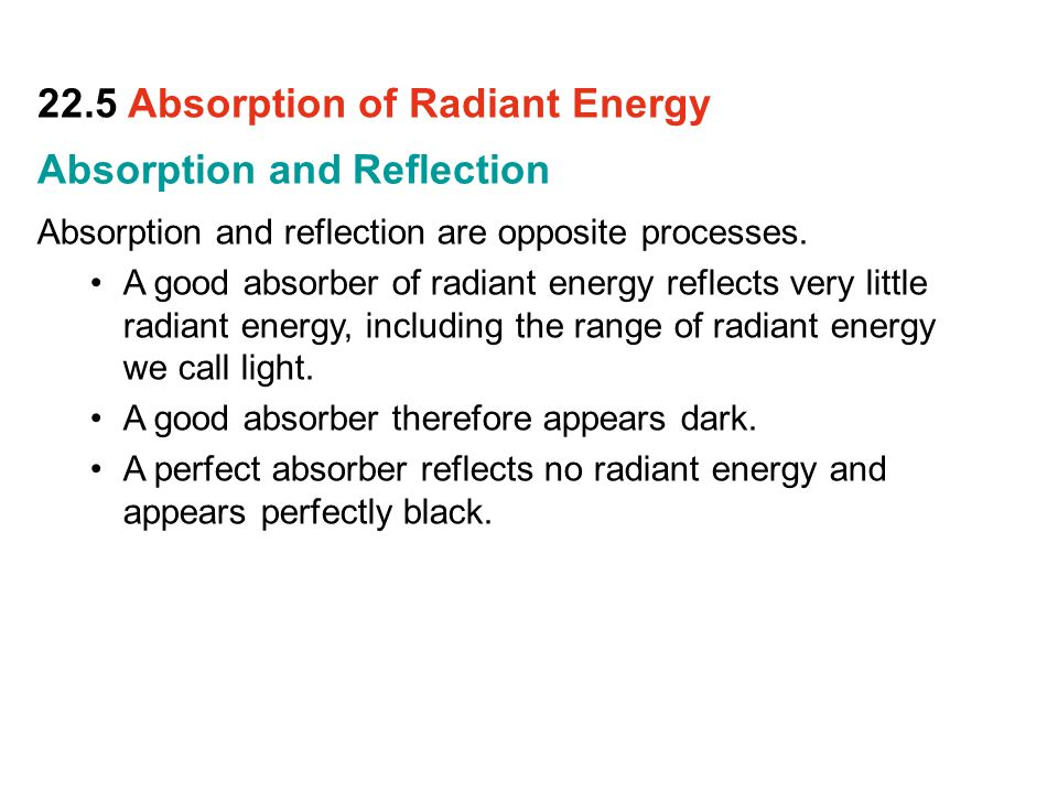 22.5 Absorption of Radiant Energy