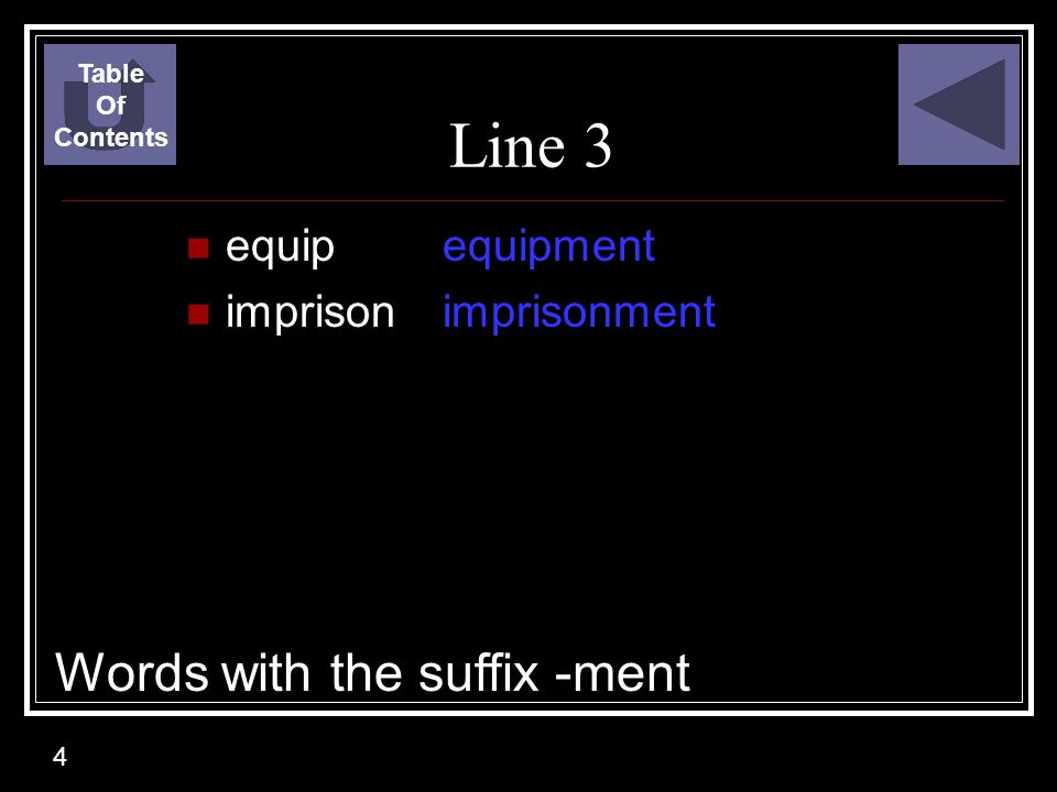 Line 3 Words with the suffix -ment equip imprison equipment