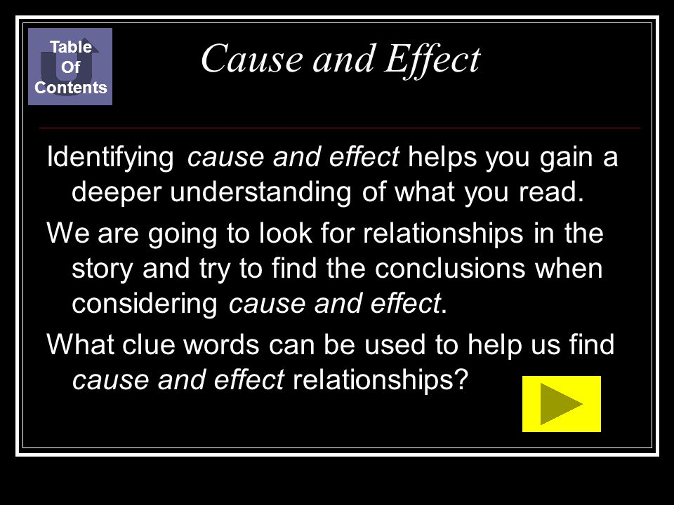 Table Of. Contents. Cause and Effect. Identifying cause and effect helps you gain a deeper understanding of what you read.
