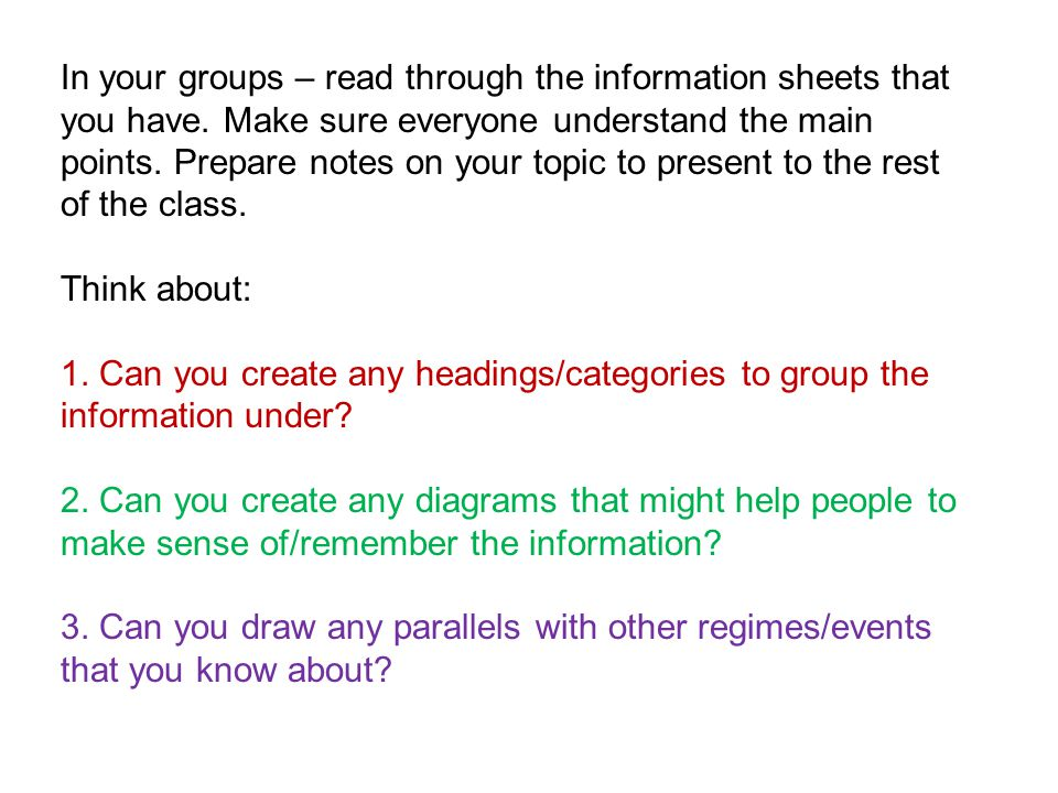 In your groups – read through the information sheets that you have