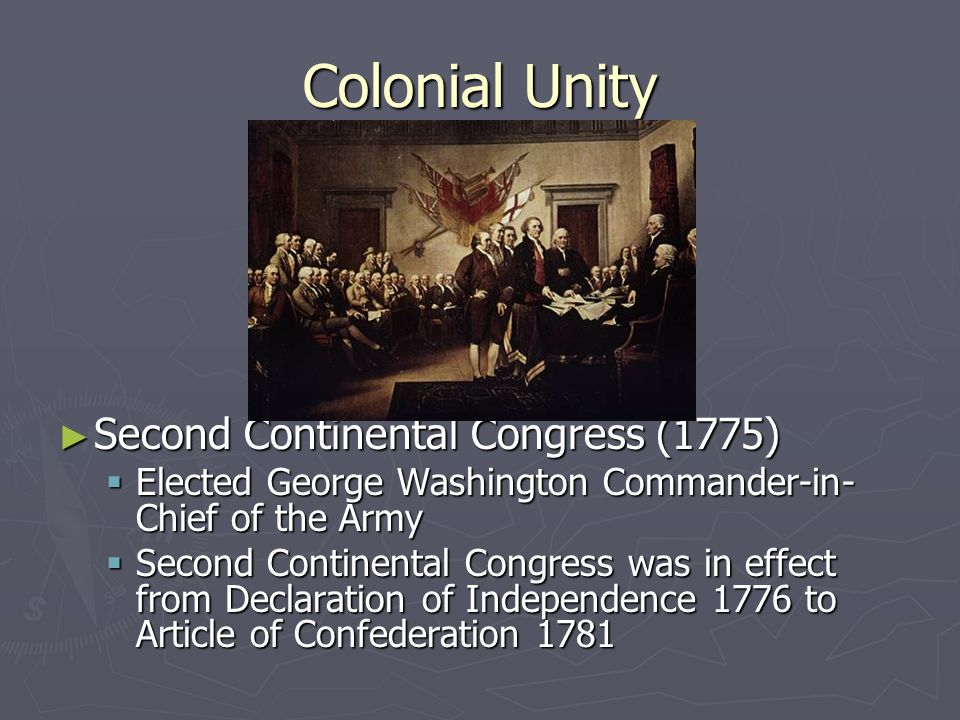 Colonial Unity Second Continental Congress (1775)