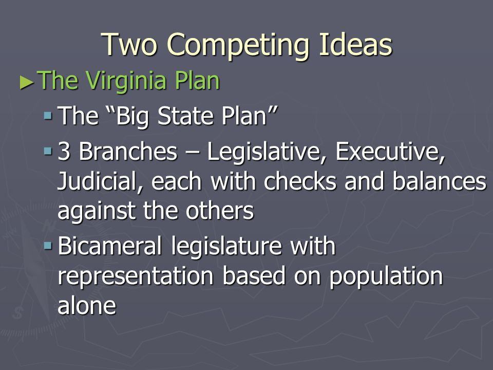 Two Competing Ideas The Virginia Plan The Big State Plan