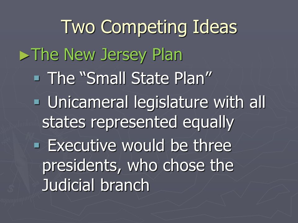 Two Competing Ideas The New Jersey Plan The Small State Plan