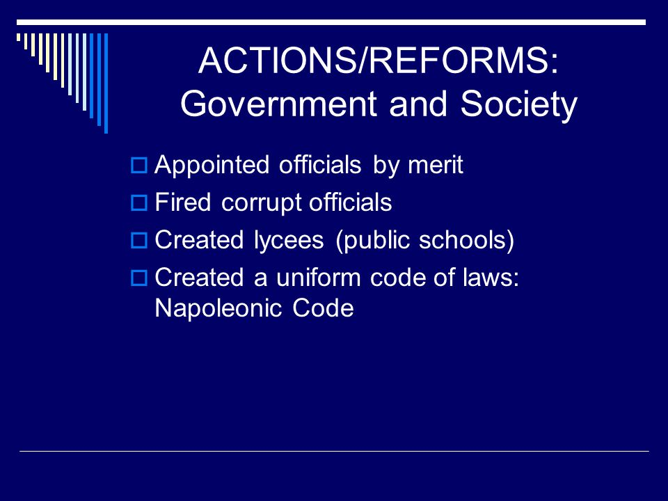 ACTIONS/REFORMS: Government and Society