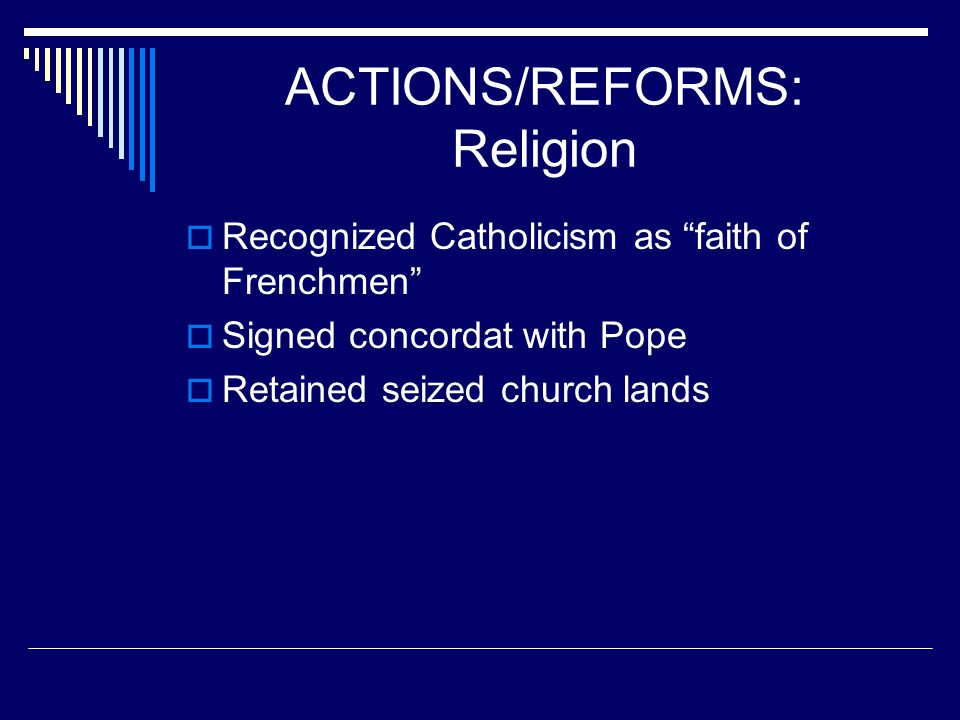 ACTIONS/REFORMS: Religion
