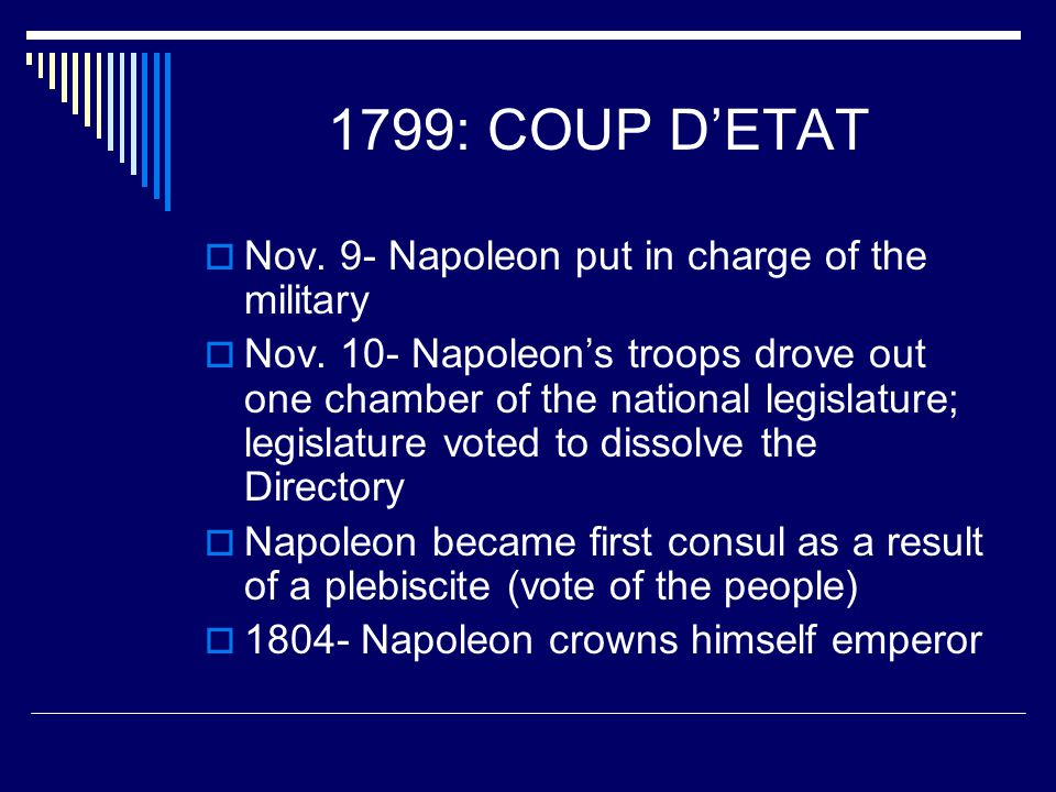 1799: COUP D'ETAT Nov. 9- Napoleon put in charge of the military