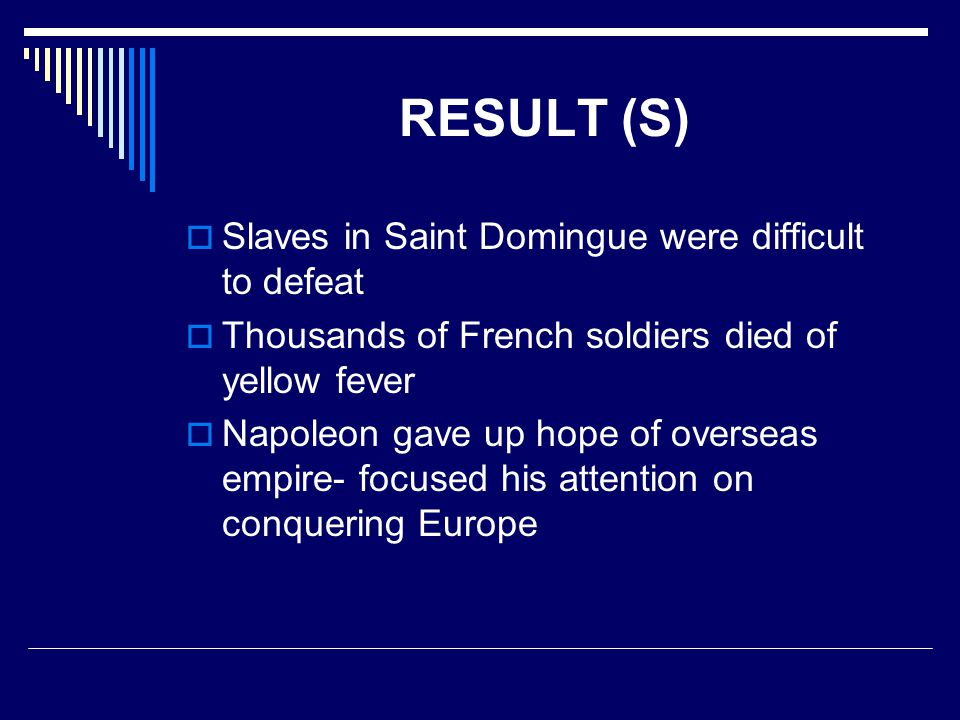 RESULT (S) Slaves in Saint Domingue were difficult to defeat