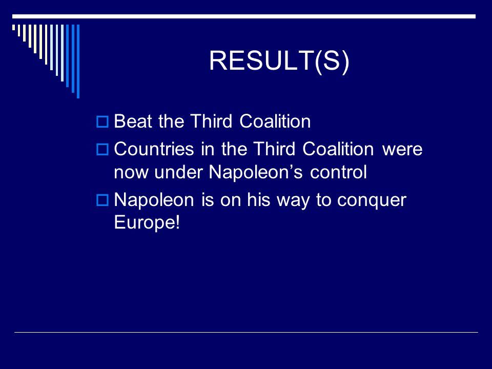 RESULT(S) Beat the Third Coalition