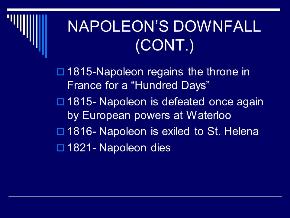 NAPOLEON'S DOWNFALL (CONT.)