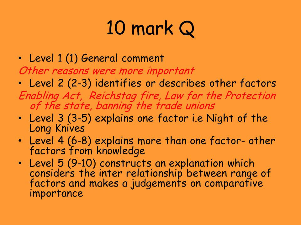 10 mark Q Level 1 (1) General comment