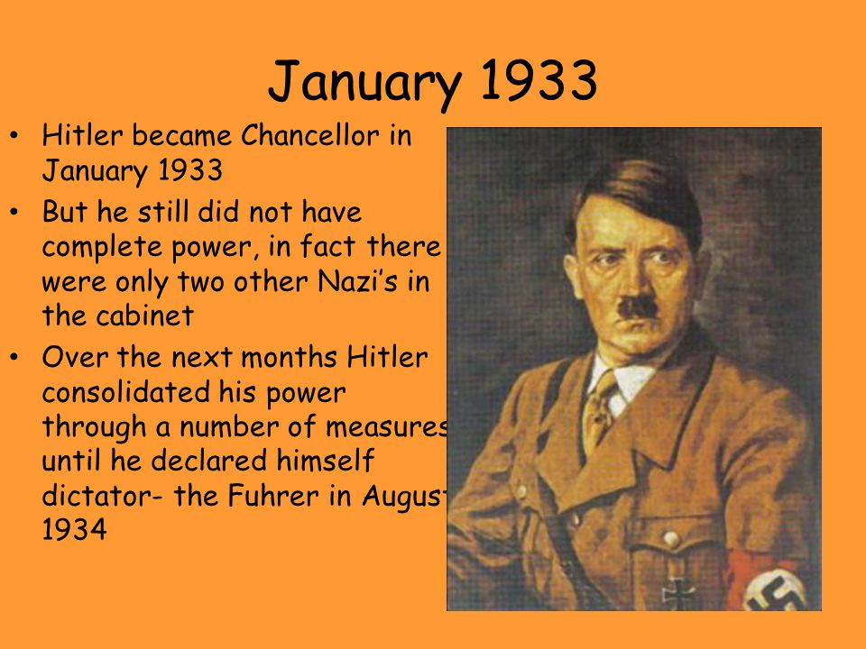 January 1933 Hitler became Chancellor in January 1933