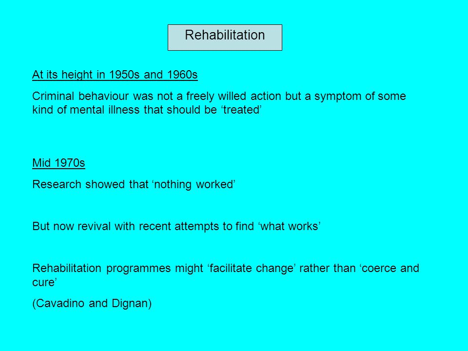 Rehabilitation At its height in 1950s and 1960s